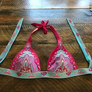 Victoria's Secret Boho Paisley Red Aqua bikini top